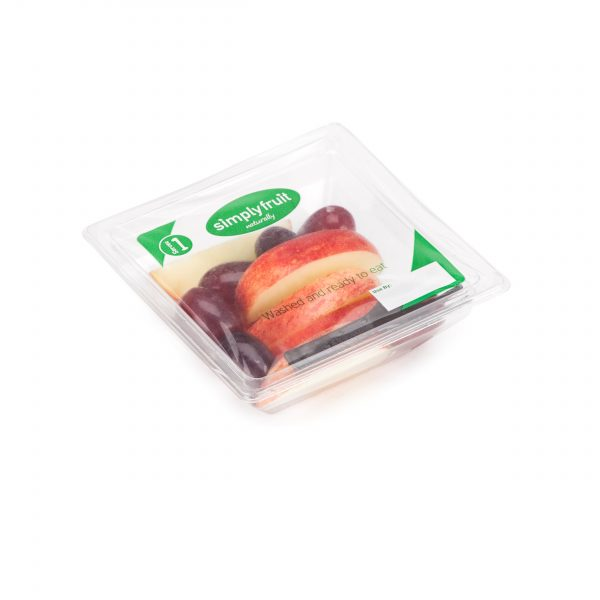 Simplyfruit Healthy 120g individual gala apple and red grapes snack pot with spork.