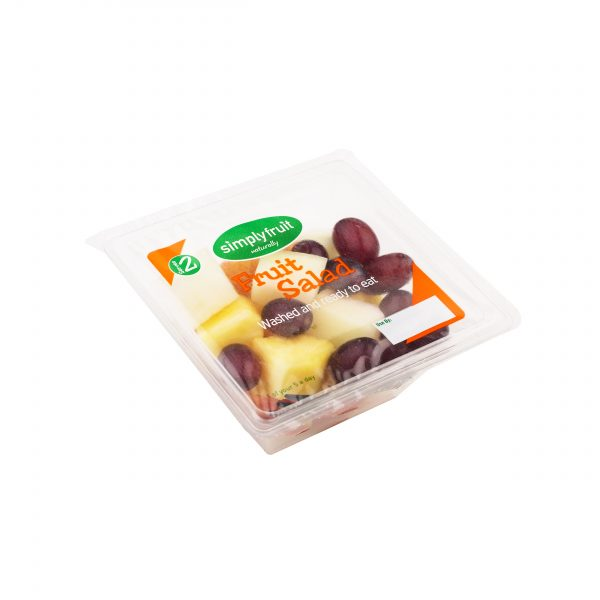Simplyfruit Homebargains Healthy 190g fruit salad grapes, pineapple, melon, apple snack pot with spork