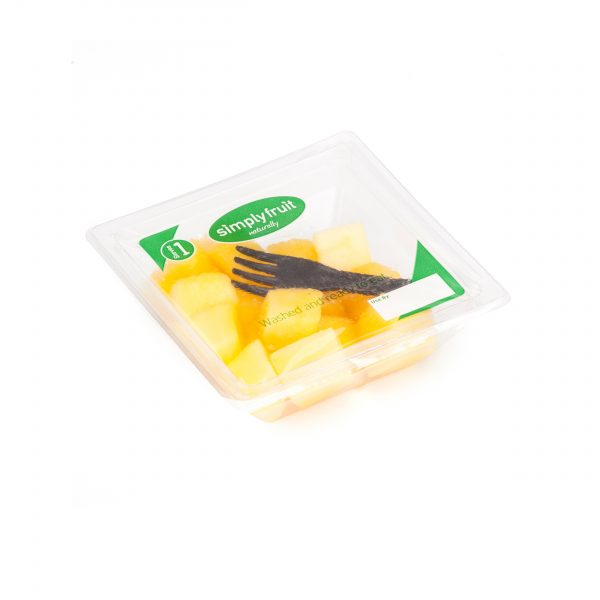 Simplyfruit Healthy 110g individual mango snack pot with spork.