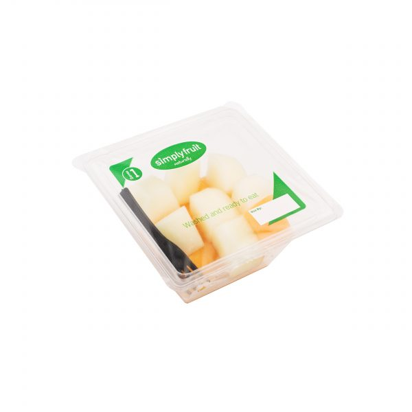 Simplyfruit Healthy 160g individual cantaloupe and honeydew snack pot with spork.