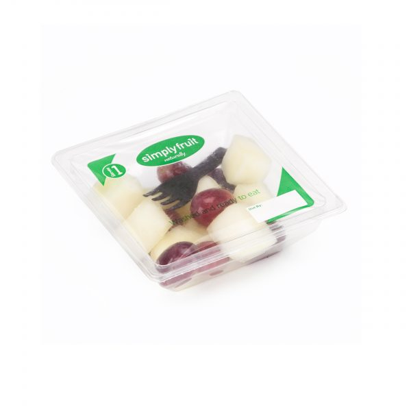 Simplyfruit Healthy 120g individual melon and red grapes snack pot with spork.
