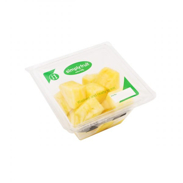 Simplyfruit Healthy 160g individual pineapple snack pot with spork.
